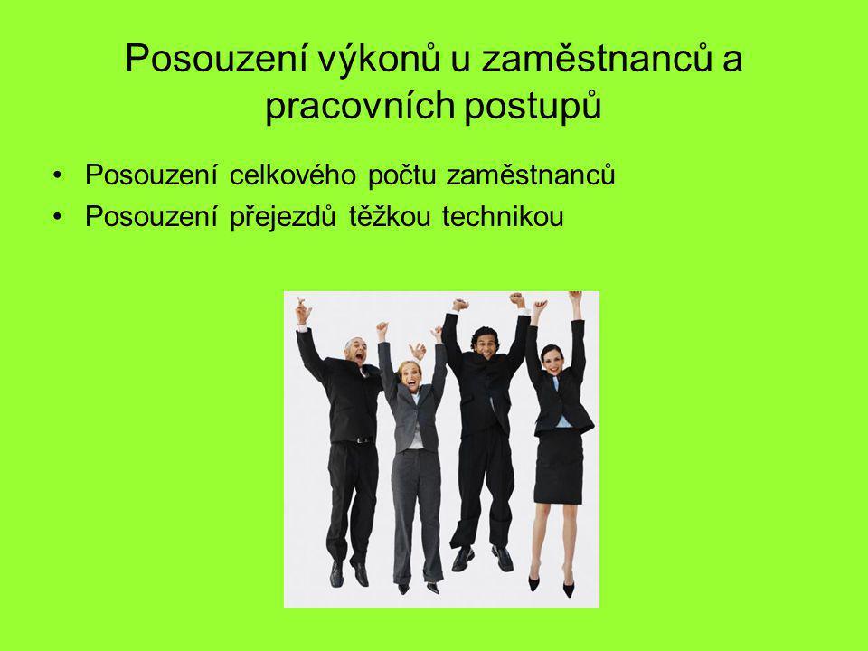 Posouzení výkonů u zaměstnanců a pracovních postupů Posouzení celkového počtu zaměstnanců Posouzení přejezdů těžkou technikou