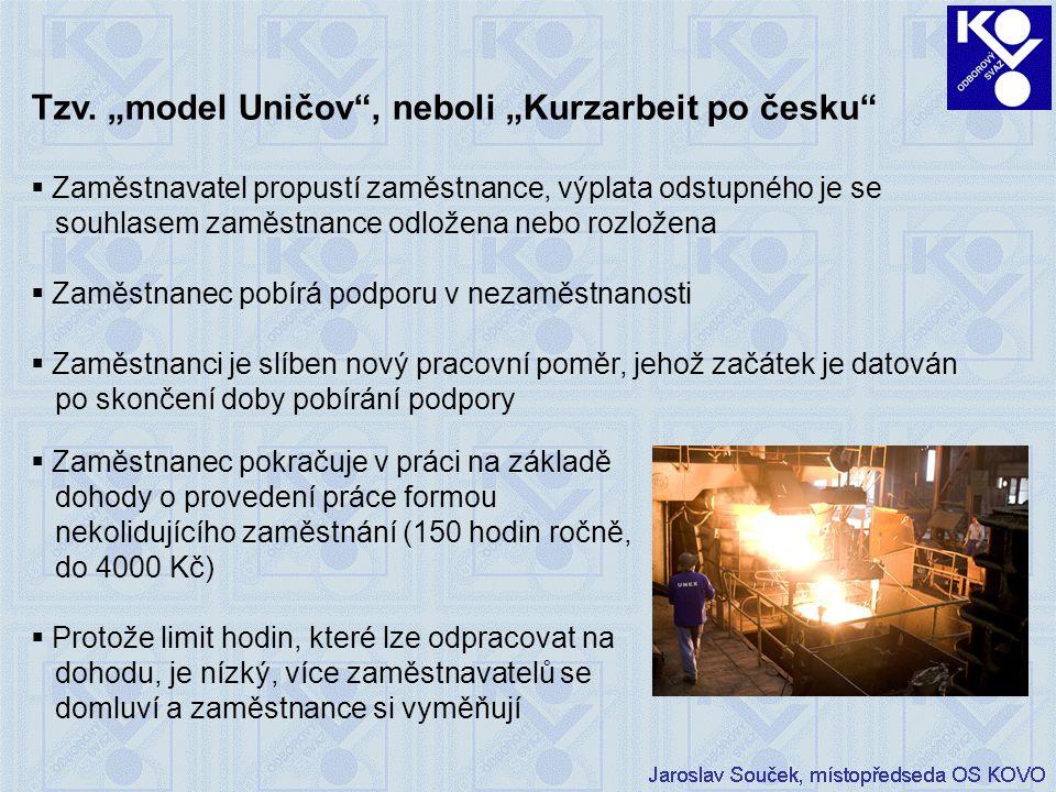 """Tzv. """"model Uničov"""", neboli """"Kurzarbeit po česku""""  Zaměstnavatel propustí zaměstnance, výplata odstupného je se souhlasem zaměstnance odložena nebo r"""
