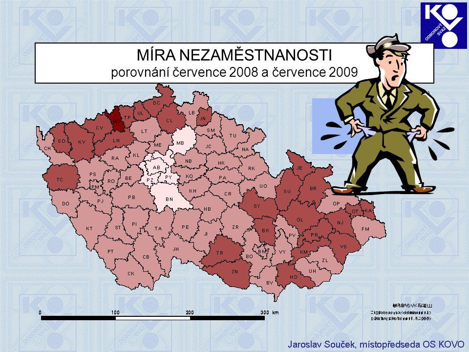 MÍRA NEZAMĚSTNANOSTI porovnání července 2008 a července 2009