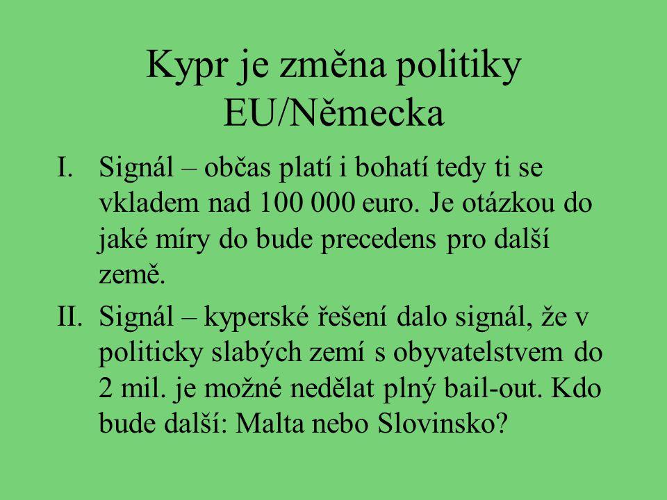 Kypr je změna politiky EU/Německa I.Signál – občas platí i bohatí tedy ti se vkladem nad 100 000 euro. Je otázkou do jaké míry do bude precedens pro d