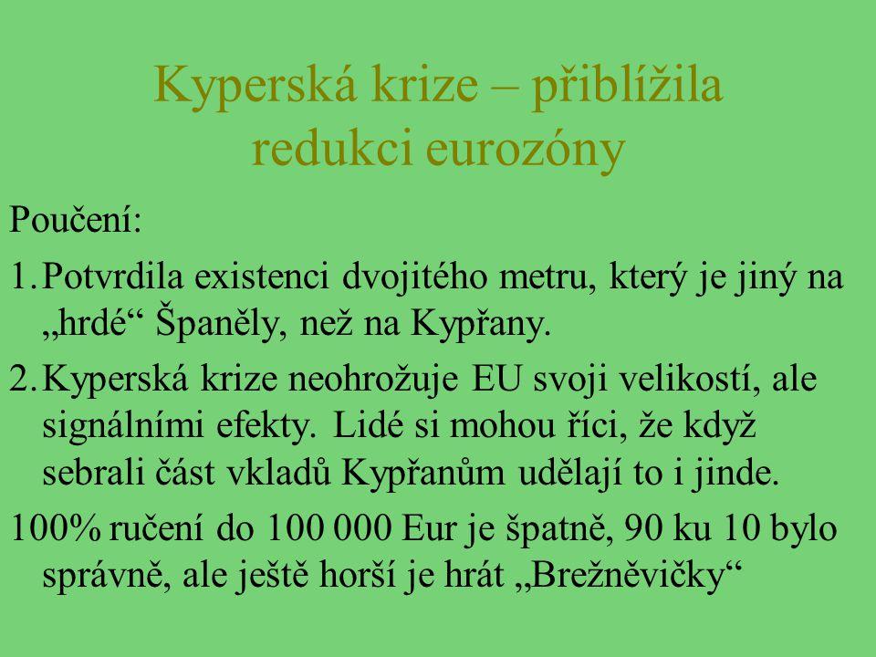 """Kyperská krize – přiblížila redukci eurozóny Poučení: 1.Potvrdila existenci dvojitého metru, který je jiný na """"hrdé"""" Španěly, než na Kypřany. 2.Kypers"""