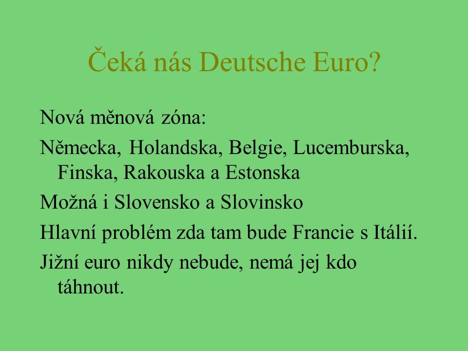 Čeká nás Deutsche Euro? Nová měnová zóna: Německa, Holandska, Belgie, Lucemburska, Finska, Rakouska a Estonska Možná i Slovensko a Slovinsko Hlavní pr