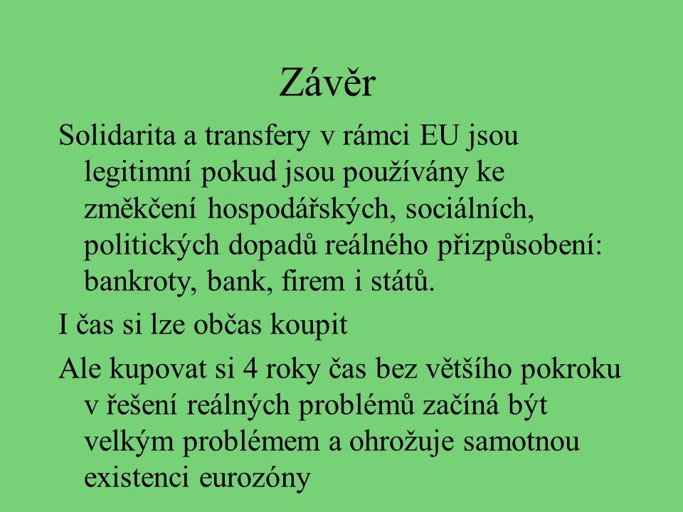 Závěr Solidarita a transfery v rámci EU jsou legitimní pokud jsou používány ke změkčení hospodářských, sociálních, politických dopadů reálného přizpůs