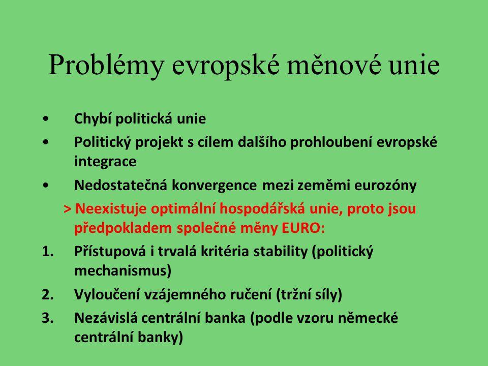 Problémy evropské měnové unie Chybí politická unie Politický projekt s cílem dalšího prohloubení evropské integrace Nedostatečná konvergence mezi země