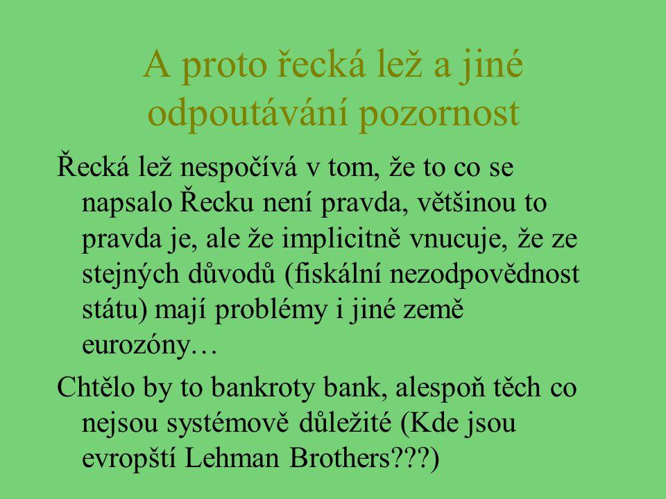 A proto řecká lež a jiné odpoutávání pozornost Řecká lež nespočívá v tom, že to co se napsalo Řecku není pravda, většinou to pravda je, ale že implici