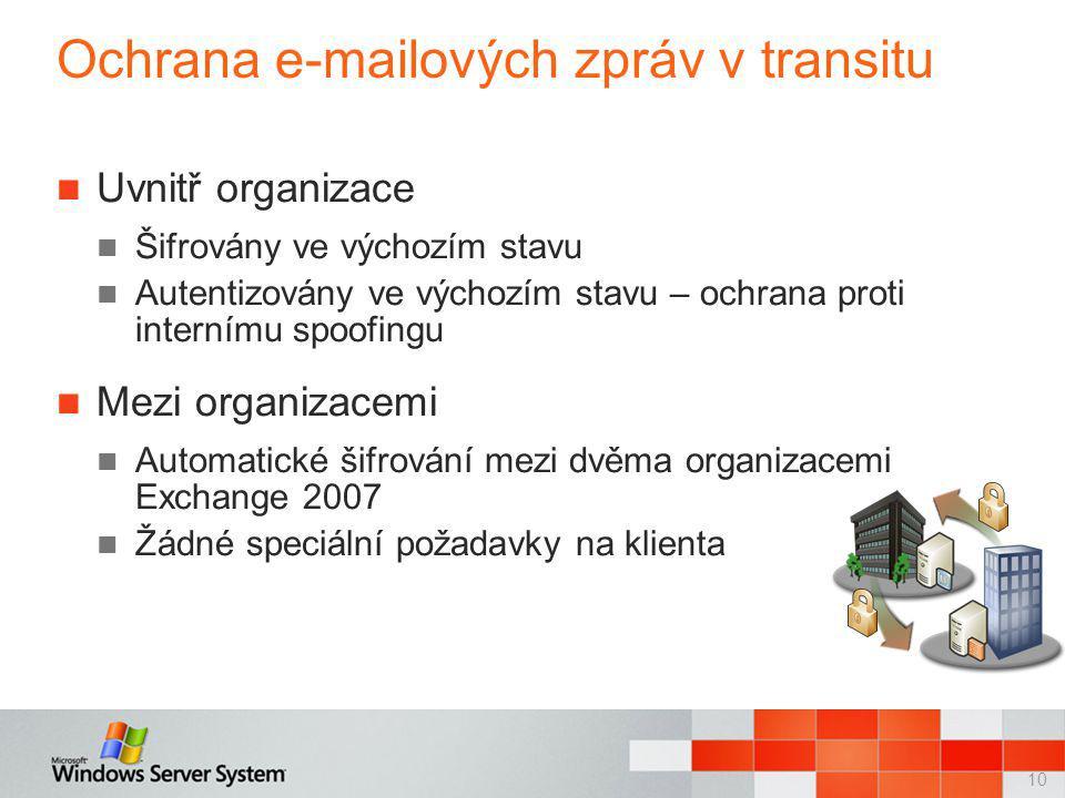 10 Ochrana e-mailových zpráv v transitu Uvnitř organizace Šifrovány ve výchozím stavu Autentizovány ve výchozím stavu – ochrana proti internímu spoofingu Mezi organizacemi Automatické šifrování mezi dvěma organizacemi Exchange 2007 Žádné speciální požadavky na klienta