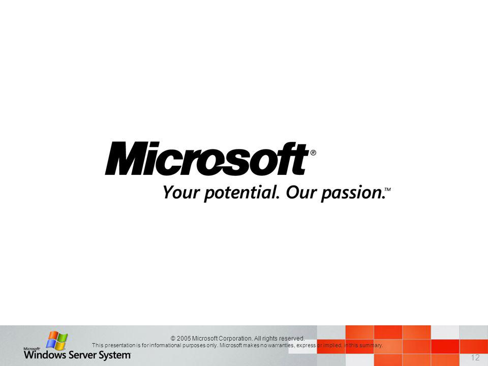 12 © 2005 Microsoft Corporation. All rights reserved. This presentation is for informational purposes only. Microsoft makes no warranties, express or