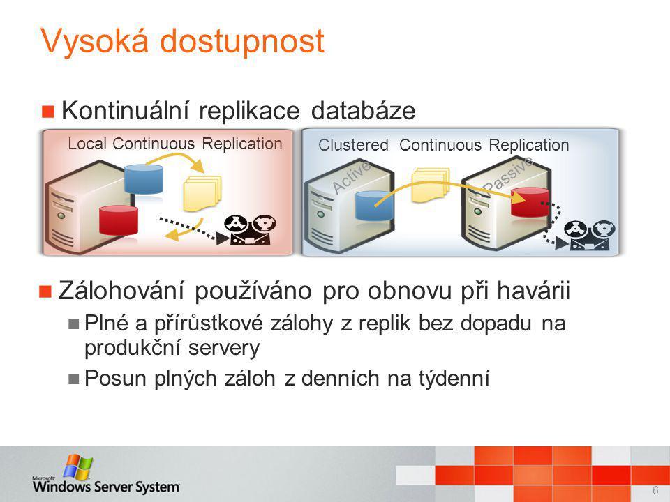 7 Unified Messaging  Jedna složka E-mail Fax Hlasová zpráva Kalendářové služby Calendar Attendant Zdroje jsou odlišeny standartních schránek Pomocník při plánovaní schůzek Propojení Exchange a SharePointu Rychlé prohledávání e-mailů Produktivita uživatelů