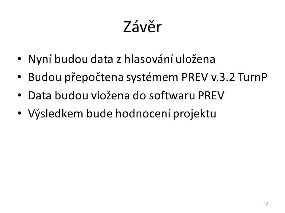 Závěr Nyní budou data z hlasování uložena Budou přepočtena systémem PREV v.3.2 TurnP Data budou vložena do softwaru PREV Výsledkem bude hodnocení projektu 40
