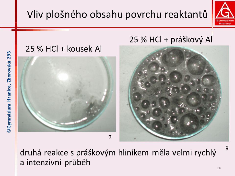 Vliv plošného obsahu povrchu reaktantů druhá reakce s práškovým hliníkem měla velmi rychlý a intenzivní průběh 10 ©Gymnázium Hranice, Zborovská 293 25 % HCl + kousek Al 25 % HCl + práškový Al 7 8