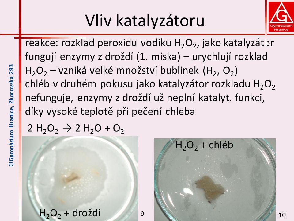 Vliv katalyzátoru reakce: rozklad peroxidu vodíku H 2 O 2, jako katalyzátor fungují enzymy z droždí (1.