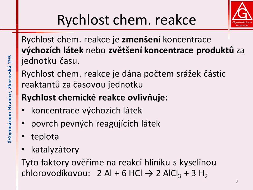 Vliv koncentrace reaktantů Zvyšováním koncentrace výchozích látek se zvyšuje rychlost chemické reakce.