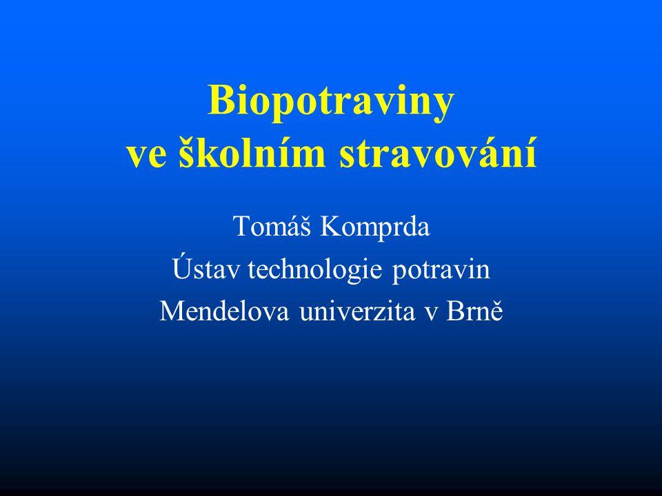 Biopotraviny ve školním stravování Tomáš Komprda Ústav technologie potravin Mendelova univerzita v Brně
