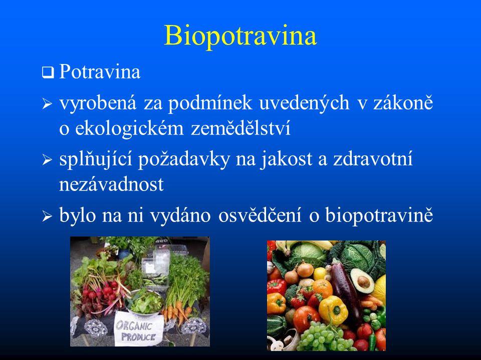 Biopotravina   Potravina   vyrobená za podmínek uvedených v zákoně o ekologickém zemědělství   splňující požadavky na jakost a zdravotní nezávadnost   bylo na ni vydáno osvědčení o biopotravině
