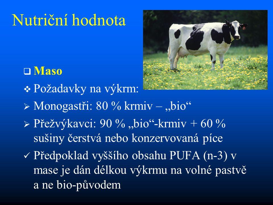 """Nutriční hodnota   Maso   Požadavky na výkrm:   Monogastři: 80 % krmiv – """"bio   Přežvýkavci: 90 % """"bio -krmiv + 60 % sušiny čerstvá nebo konzervovaná píce Předpoklad vyššího obsahu PUFA (n-3) v mase je dán délkou výkrmu na volné pastvě a ne bio-původem"""