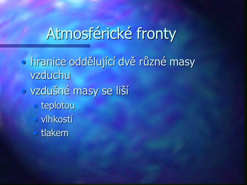Atmosférické fronty hranice oddělující dvě různé masy vzduchuhranice oddělující dvě různé masy vzduchu vzdušné masy se lišívzdušné masy se liší teplot