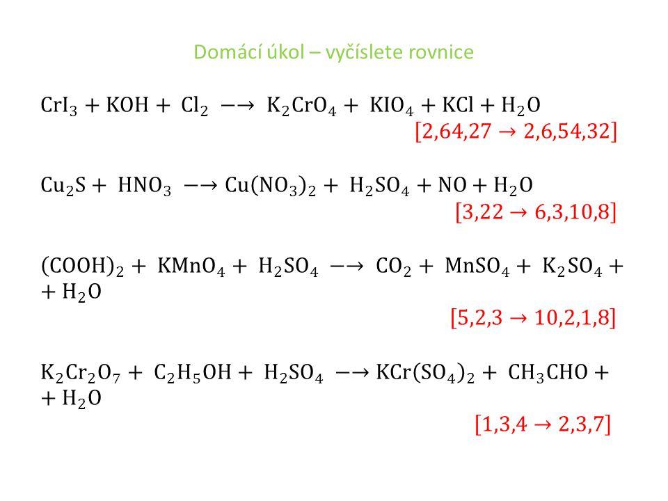 Domácí úkol – vyčíslete rovnice