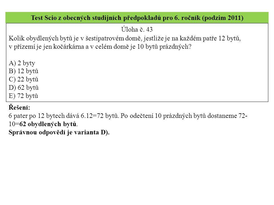 Test Scio z obecných studijních předpokladů pro 6.
