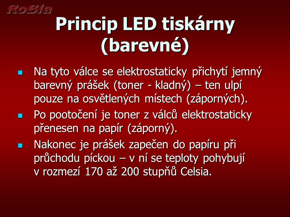 Princip barevné LED tiskárny (schéma) Obr. 1