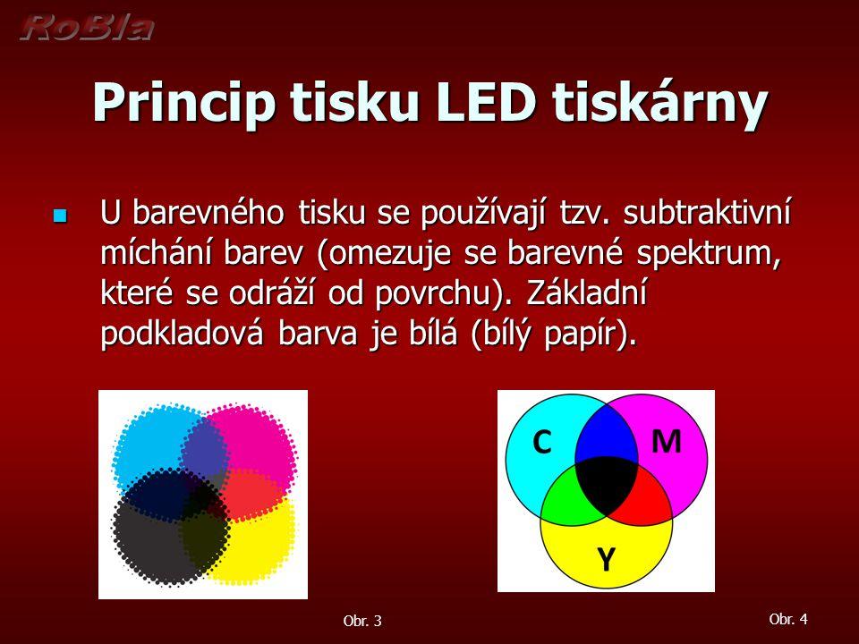 Princip tisku LED tiskárny U barevného tisku se používají tzv. subtraktivní míchání barev (omezuje se barevné spektrum, které se odráží od povrchu). Z