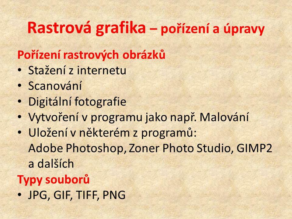 Rastrová grafika – pořízení a úpravy Pořízení rastrových obrázků Stažení z internetu Scanování Digitální fotografie Vytvoření v programu jako např.