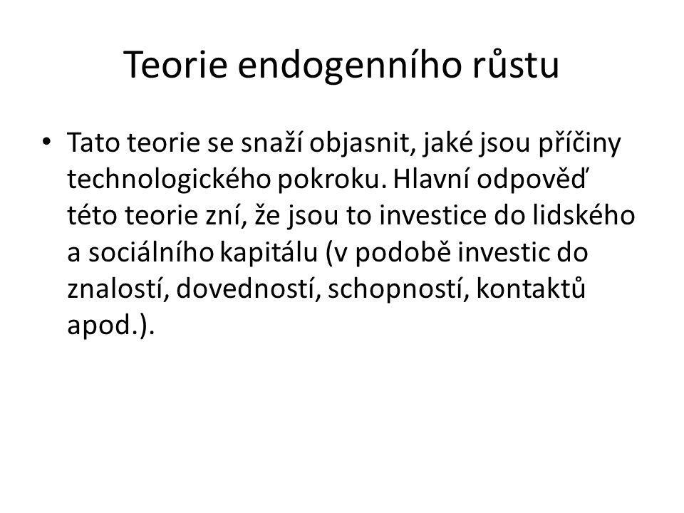 Teorie endogenního růstu Tato teorie se snaží objasnit, jaké jsou příčiny technologického pokroku. Hlavní odpověď této teorie zní, že jsou to investic