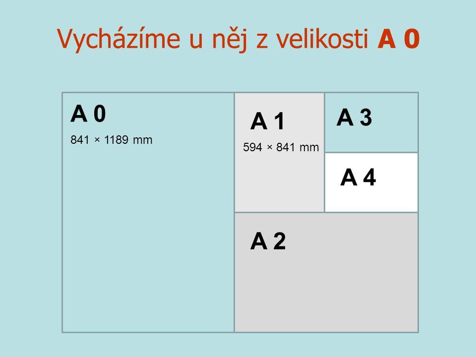 Vycházíme u něj z velikosti A 0 841 × 1189 mm A 0 A 1 A 2 A 3 A 4 594 × 841 mm