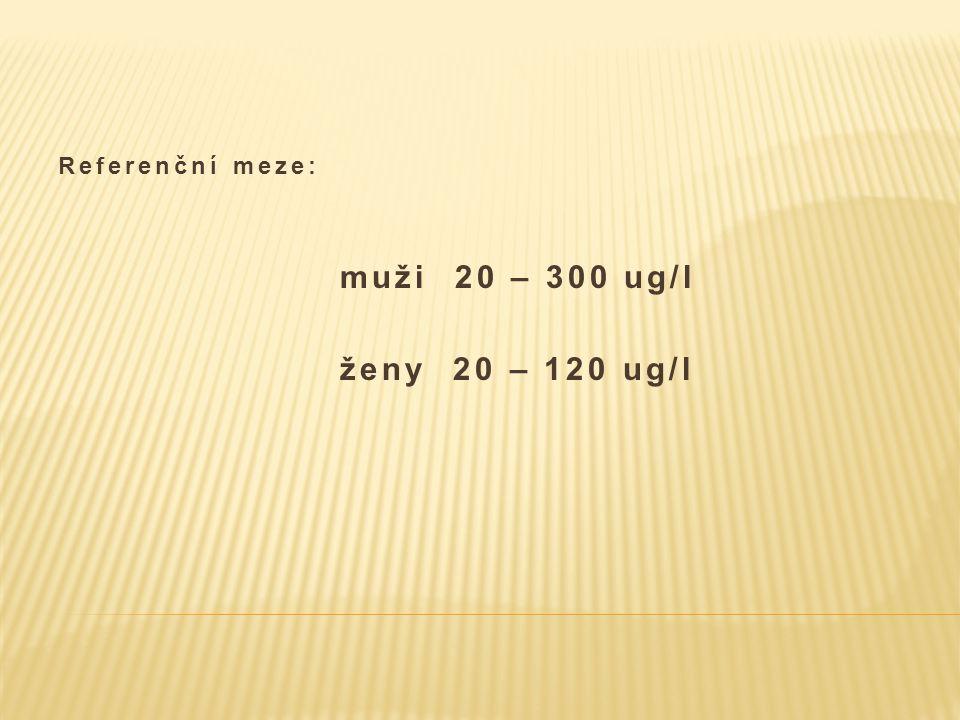 Referenční meze: muži 20 – 300 ug/l ženy 20 – 120 ug/l