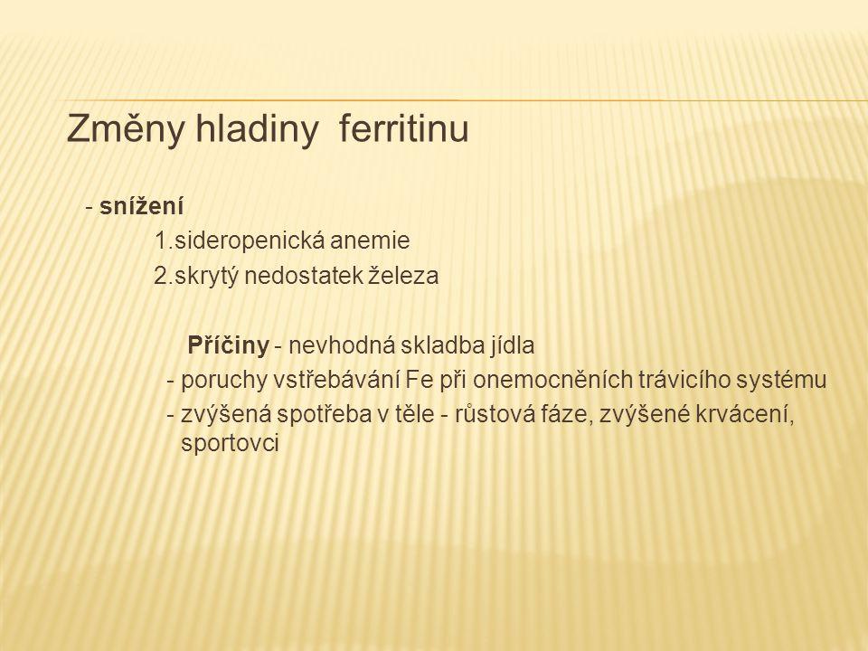Změny hladiny ferritinu - zvýšení 1.zánětlivá onemocnění včetně virového zánětu jater 2.revmatoidní artritis 3.nádorová onemocnění 4.nadměrný přívod železa