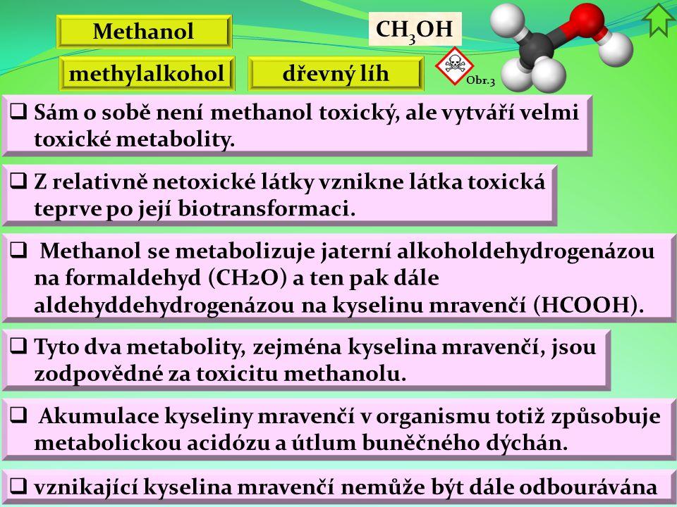 Methanol CH 3 OH  Akumulace kyseliny mravenčí v organismu totiž způsobuje metabolickou acidózu a útlum buněčného dýchán.