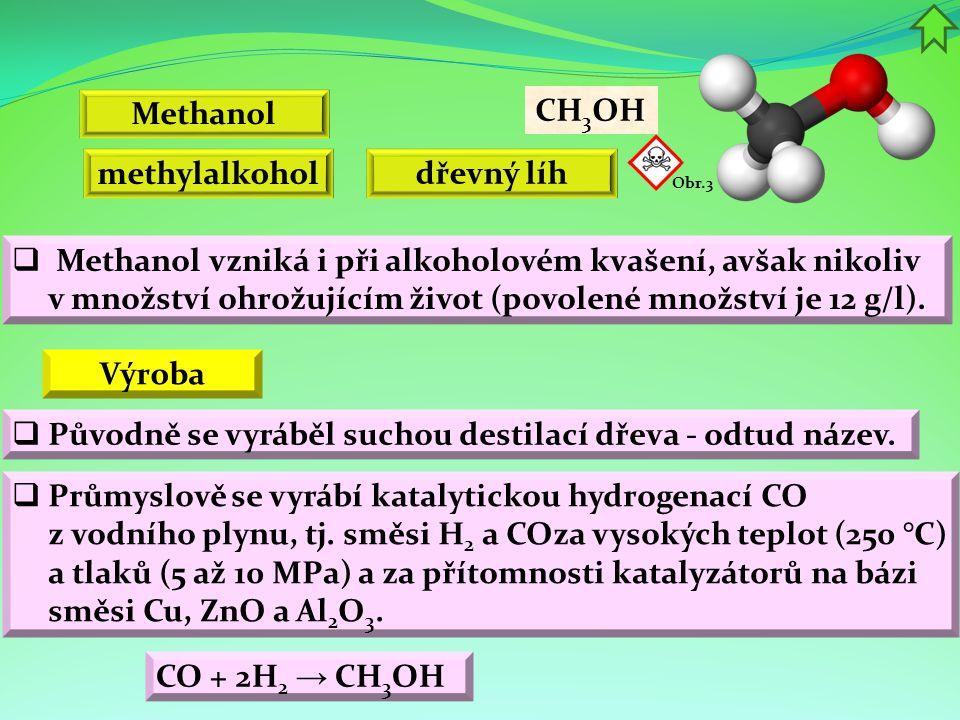 Methanol CH 3 OH methylalkohol dřevný líh CO + 2H 2 → CH 3 OH  Methanol vzniká i při alkoholovém kvašení, avšak nikoliv v množství ohrožujícím život (povolené množství je 12 g/l).