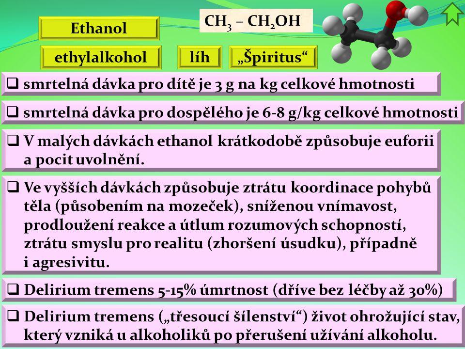 Ethanol CH 3 – CH 2 OH ethylalkohol líh  V malých dávkách ethanol krátkodobě způsobuje euforii a pocit uvolnění.