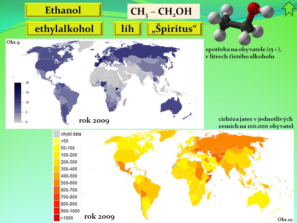 """Ethanol CH 3 – CH 2 OH ethylalkohol líh""""Špiritus spotřeba na obyvatele (15 +), v litrech čistého alkoholu rok 2009 Obr.9 cirhóza jater v jednotlivých zemích na 100.000 obyvatel rok 2009 Obr.10"""