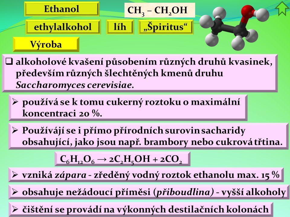 """Ethanol CH 3 – CH 2 OH ethylalkohol líh""""Špiritus  alkoholové kvašení působením různých druhů kvasinek, především různých šlechtěných kmenů druhu Saccharomyces cerevisiae."""