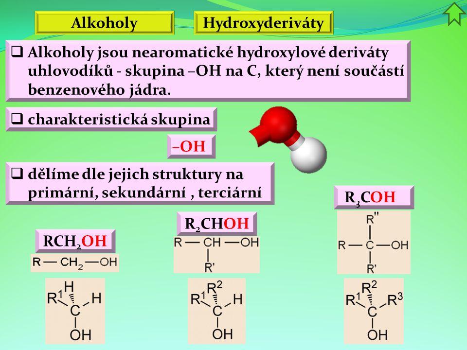 Alkoholy  Příprava a výroba alkoholů  kvašení cukerných roztoků  hydrolýza škrobu  působením roztoků alkalických uhličitanů na halogenderiváty  působením zředěných roztoků hydroxidů na halogenderiváty  adice vody na nenasycené uhlovodíky  redukce aldehydů a ketonů C 6 H 12 O 6 → 2 C 2 H 5 OH + 2CO 2 CH 2 =CH 2 + H 2 O → CH 3 CH 2 OH CH 3 I + NaOH → CH 3 OH + NaI