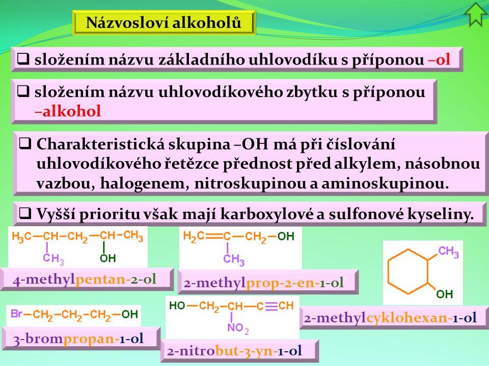 Názvosloví alkoholů 2-methylprop-2-en-1-ol 2-methylcyklohexan-1-ol 4-methylpentan-2-ol 2-nitrobut-3-yn-1-ol  složením názvu základního uhlovodíku s příponou –ol  složením názvu uhlovodíkového zbytku s příponou –alkohol  Charakteristická skupina –OH má při číslování uhlovodíkového řetězce přednost před alkylem, násobnou vazbou, halogenem, nitroskupinou a aminoskupinou.