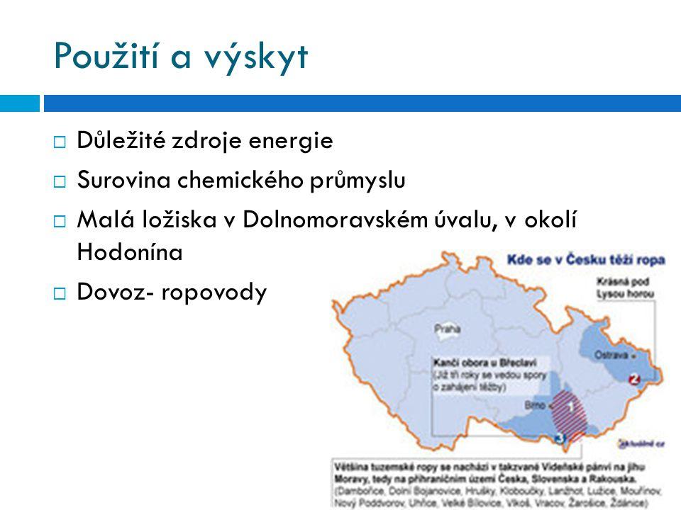 Použití a výskyt  Důležité zdroje energie  Surovina chemického průmyslu  Malá ložiska v Dolnomoravském úvalu, v okolí Hodonína  Dovoz- ropovody