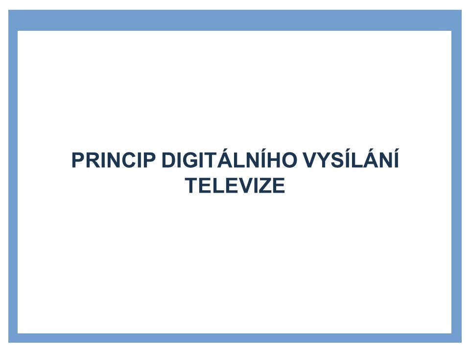 DVB (DIGITAL VIDEO BROADCASTING) »mezinárodní sdružení televizních společností, výrobců, operátorů a dalších zástupců z celého světa »specifikace tvoří normy v oblasti digitálního vysílání televize Určuje:  druh komprese obrazu a zvuku,  použité modulace,  přenos doprovodných údajů,  kódování televizních programů.