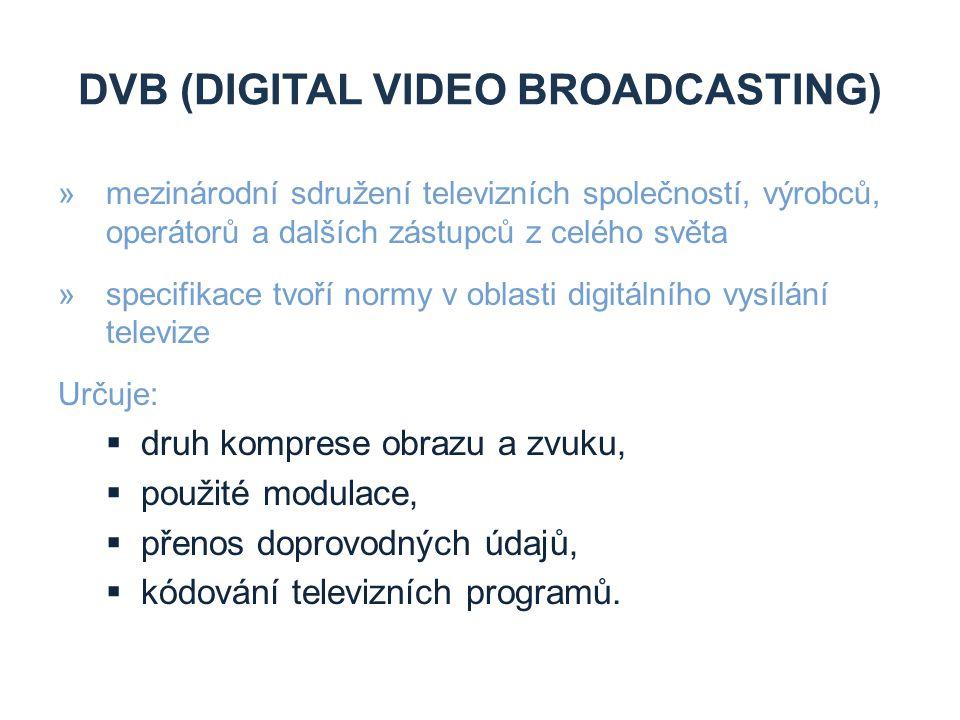 VÝHODY DVB »účinnější využívání kmitočtového spektra »větší přenosová kapacita (multiplex) »rozšíření programové nabídky »vyšší kvalita přenášeného signálu »snížení přenosových nákladů za nabízené služby