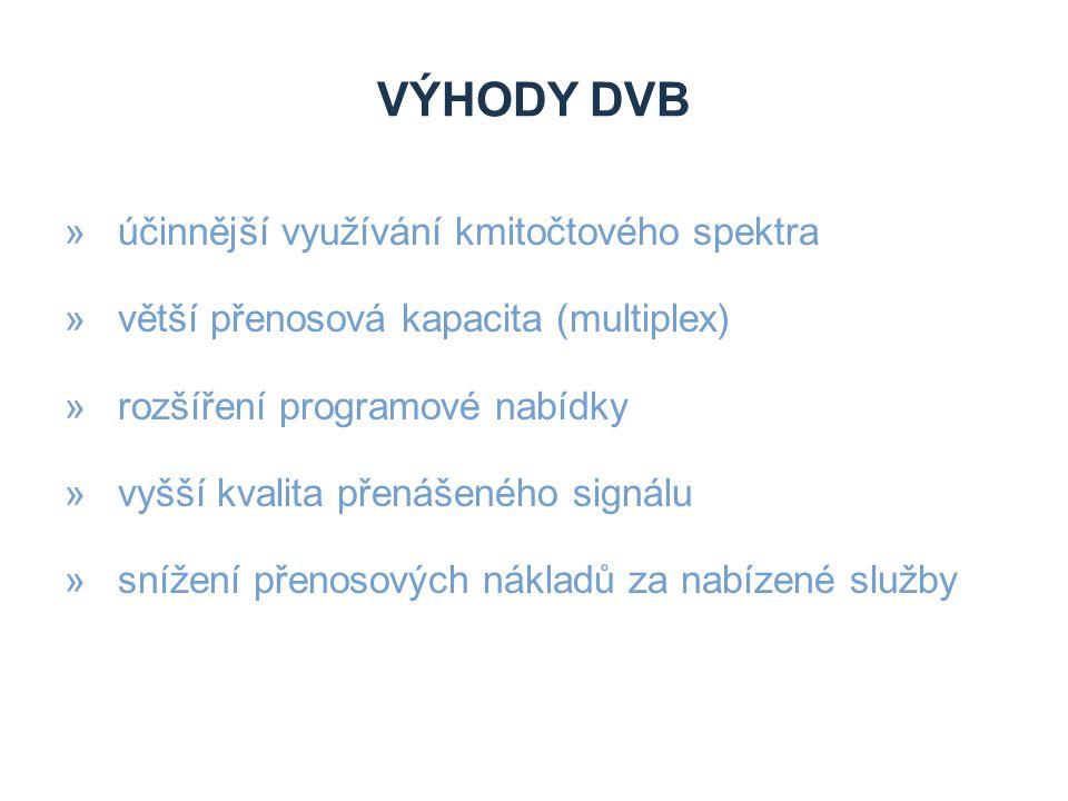 NEVÝHODY DVB »investice do digitálních přijímačů (set-top boxů) »investice do vysílací sítě »investice do technického zařízení studií a vysílačů