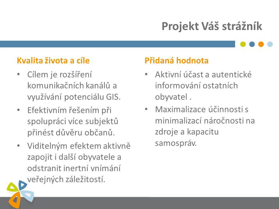 Kvalita života a cíle Cílem je rozšíření komunikačních kanálů a využívání potenciálu GIS.