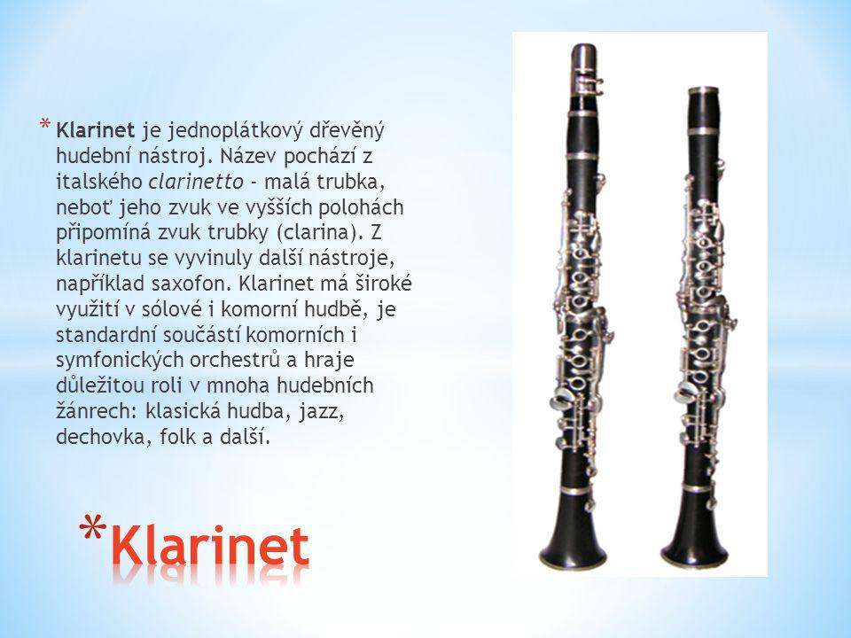 * Klarinet je jednoplátkový dřevěný hudební nástroj. Název pochází z italského clarinetto - malá trubka, neboť jeho zvuk ve vyšších polohách připomíná
