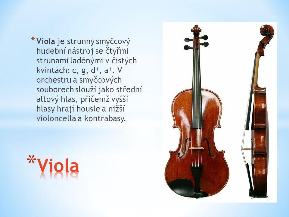 * Viola je strunný smyčcový hudební nástroj se čtyřmi strunami laděnými v čistých kvintách: c, g, d¹, a¹. V orchestru a smyčcových souborech slouží ja