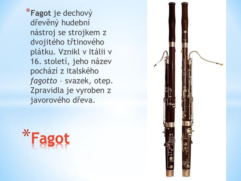 * Fagot je dechový dřevěný hudební nástroj se strojkem z dvojitého třtinového plátku. Vznikl v Itálii v 16. století, jeho název pochází z italského fa