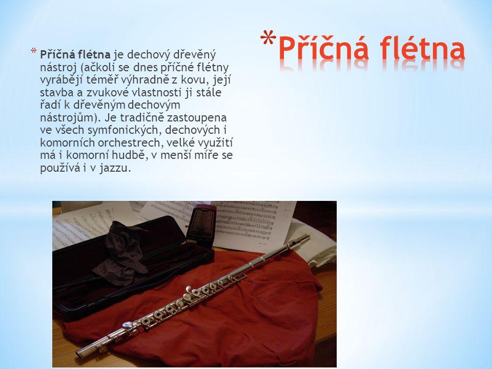 * Příčná flétna je dechový dřevěný nástroj (ačkoli se dnes příčné flétny vyrábějí téměř výhradně z kovu, její stavba a zvukové vlastnosti ji stále řad