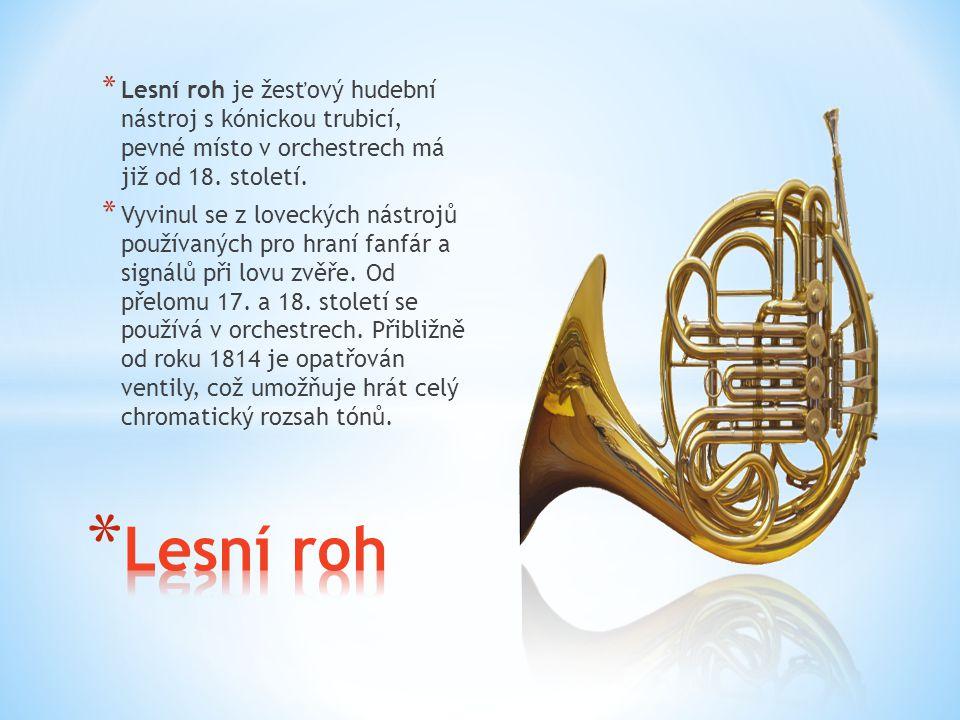 * Lesní roh je žesťový hudební nástroj s kónickou trubicí, pevné místo v orchestrech má již od 18. století. * Vyvinul se z loveckých nástrojů používan