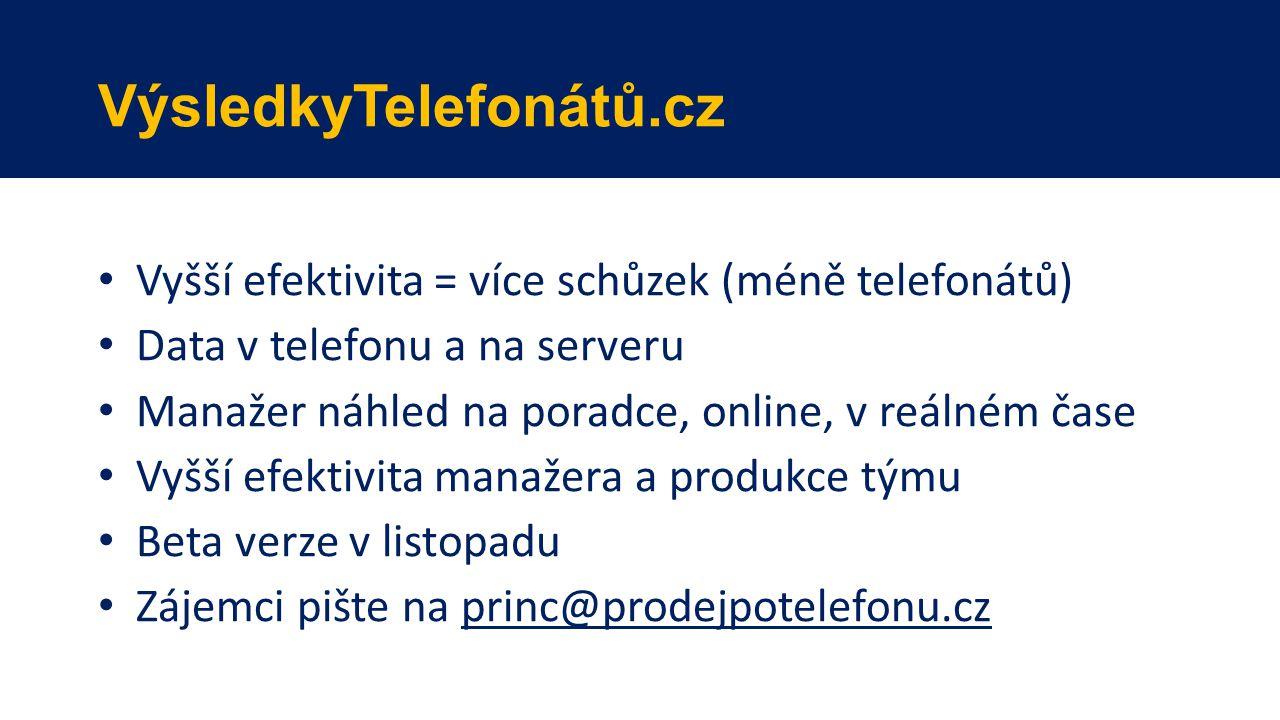 VýsledkyTelefonátů.cz Vyšší efektivita = více schůzek (méně telefonátů) Data v telefonu a na serveru Manažer náhled na poradce, online, v reálném čase