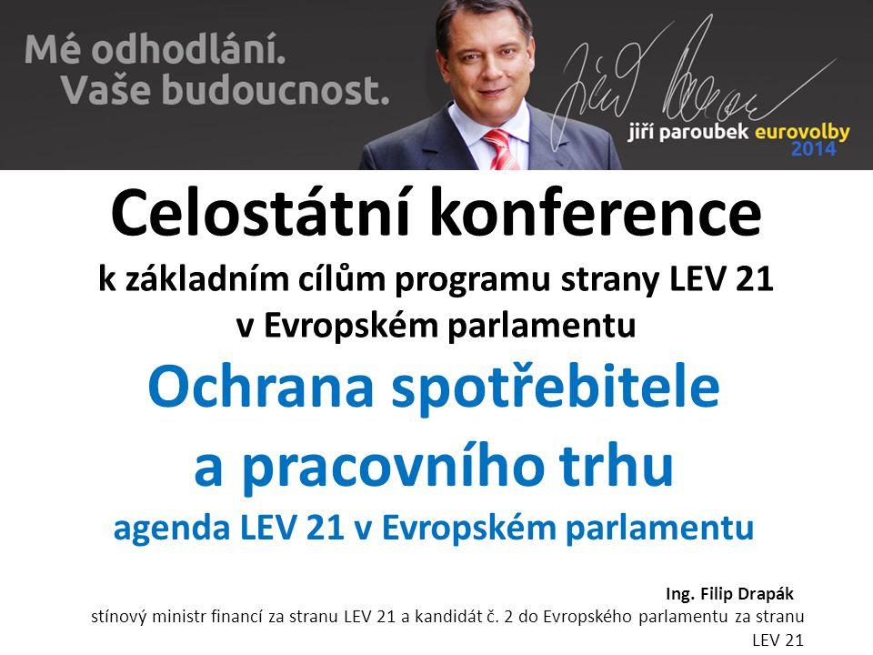 Celostátní konference k základním cílům programu strany LEV 21 v Evropském parlamentu Ochrana spotřebitele a pracovního trhu agenda LEV 21 v Evropském parlamentu Ing.