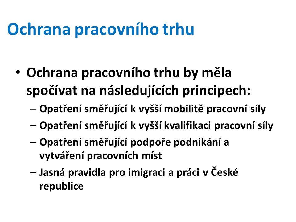 Ochrana pracovního trhu by měla spočívat na následujících principech: – Opatření směřující k vyšší mobilitě pracovní síly – Opatření směřující k vyšší kvalifikaci pracovní síly – Opatření směřující podpoře podnikání a vytváření pracovních míst – Jasná pravidla pro imigraci a práci v České republice Ochrana pracovního trhu