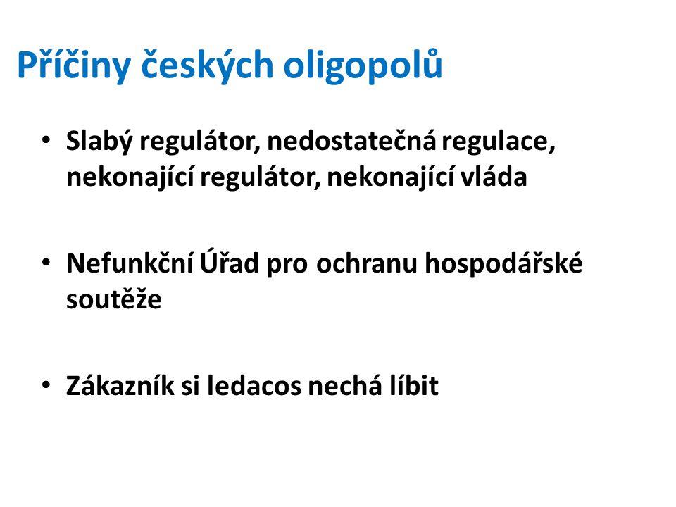 Příčiny českých oligopolů Slabý regulátor, nedostatečná regulace, nekonající regulátor, nekonající vláda Nefunkční Úřad pro ochranu hospodářské soutěž